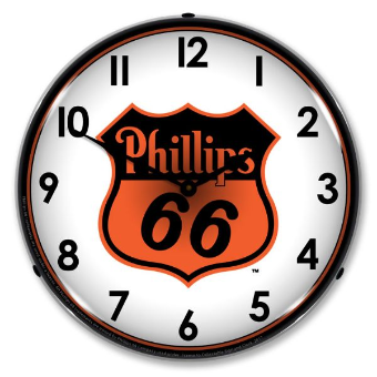 PHILLIPS 66 ORANGE  BACKLIT LIGHTED CLOCK