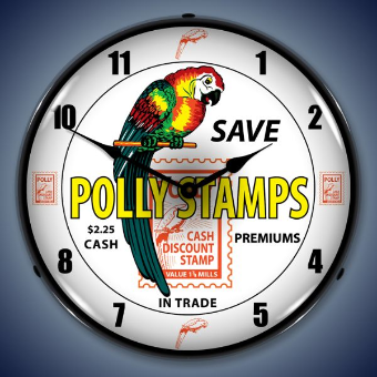 POLLY STAMPS  BACKLIT LIGHTED CLOCK
