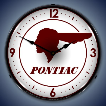 PONTIAC INDIAN  BACKLIT LIGHTED CLOCK