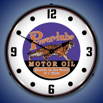 POWERLUBE MOTOR OIL  BACKLIT LIGHTED CLOCK