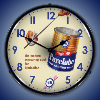 PURELUBE OIL  BACKLIT LIGHTED CLOCK