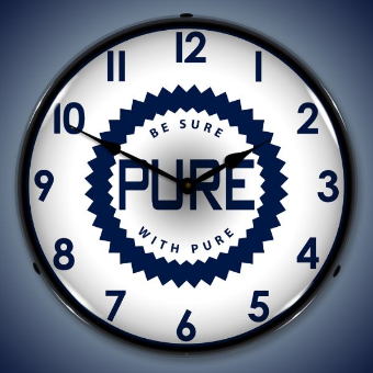 PURE OIL  BACKLIT LIGHTED CLOCK