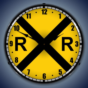 RAILROAD CROSSING  BACKLIT LIGHTED CLOCK