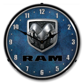 RAM LOGO  BACKLIT LIGHTED CLOCK