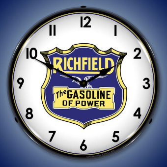 RICHFIELD GASOLINE  BACKLIT LIGHTED CLOCK