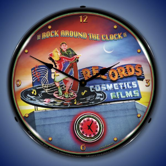 ROCK AROUND THE CLOCK  BACKLIT LIGHTED CLOCK