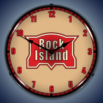ROCK ISLAND RAILROAD  BACKLIT LIGHTED CLOCK