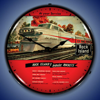 ROCK ISLAND ROCKETS  BACKLIT LIGHTED CLOCK