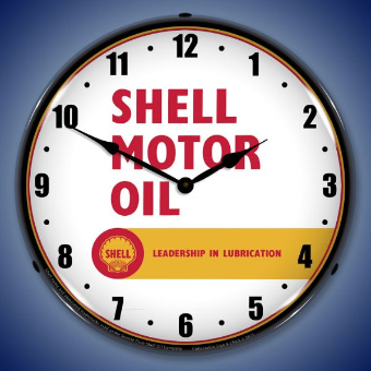 SHELL MOTOR OIL   BACKLIT LIGHTED CLOCK