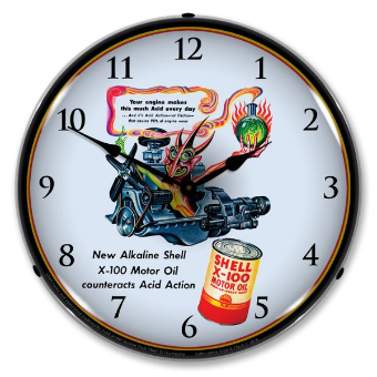 SHELL OIL ARTZYBASHEFF 1   BACKLIT LIGHTED CLOCK