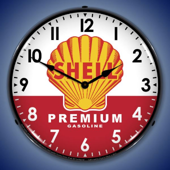 SHELL PREMIUM GAS  BACKLIT LIGHTED CLOCK