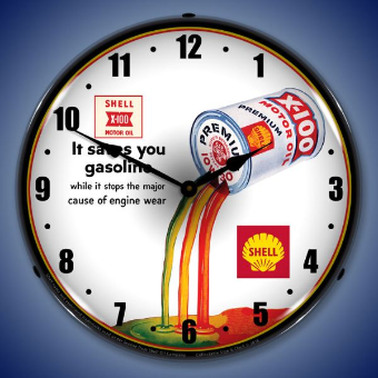 SHELL X100  OIL   BACKLIT LIGHTED CLOCK