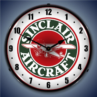 SINCLAIR AIRCRAFT  BACKLIT LIGHTED CLOCK