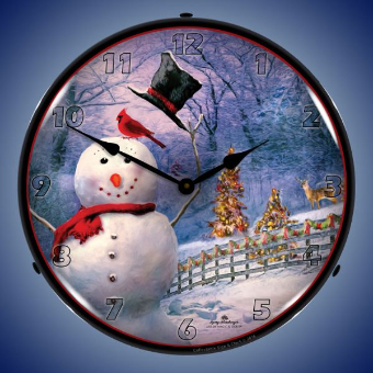 SNOWMAN GREETING  BACKLIT LIGHTED CLOCK
