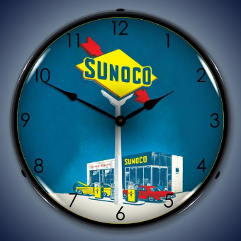 SUNOCO GAS  BACKLIT LIGHTED CLOCK