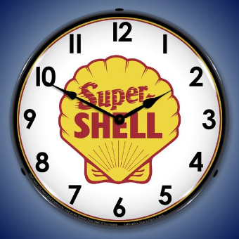 SUPER SHELL   BACKLIT LIGHTED CLOCK