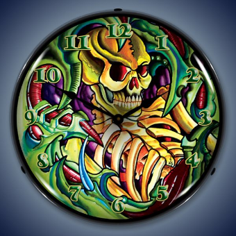 TATTOO SKULL  BACKLIT LIGHTED CLOCK