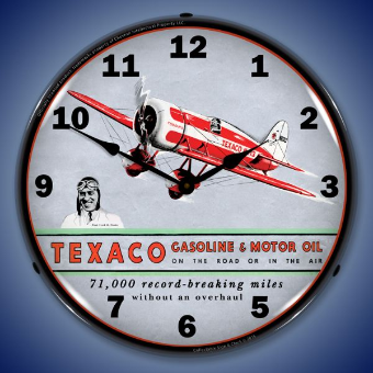 TEXACO AVIATION  BACKLIT LIGHTED CLOCK