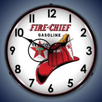 TEXACO FIRE CHIEF  BACKLIT LIGHTED CLOCK