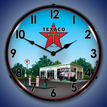 TEXACO GAS STATION  BACKLIT LIGHTED CLOCK