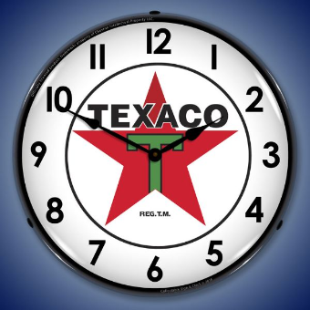 TEXACO WITH NUMBERS BACKLIT LIGHTED CLOCK