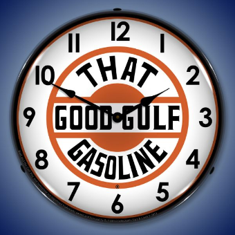 THAT GOOD GULF GASOLINE  BACKLIT LIGHTED CLOCK