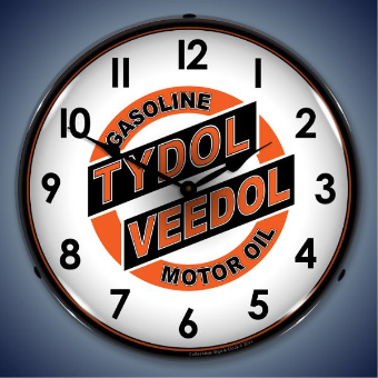 TYDOL VEEDOL  BACKLIT LIGHTED CLOCK