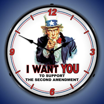 UNCLE SAM SUPPORT 2ND AMENDMENT  BACKLIT LIGHTED CLOCK