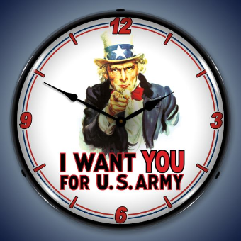 US UNCLE SAM - I WANT YOU BACKLIT LIGHTED CLOCK