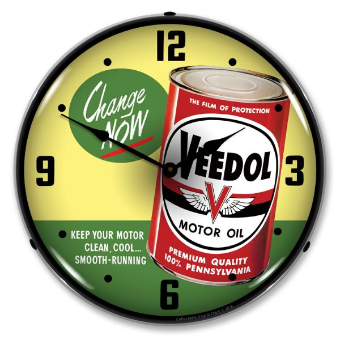 VEEDOL  OIL CHANGE NOW  LIGHTED CLOCK