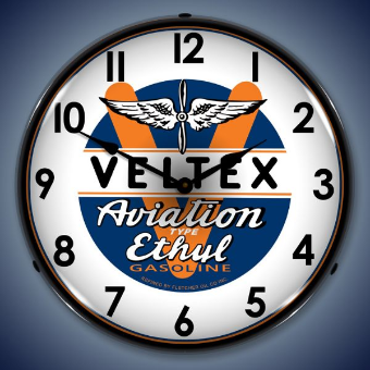 VELTEX AVIATION GAS  BACKLIT LIGHTED CLOCK