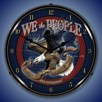 WE THE PEOPLE 2nd AMENDMENT  BACKLIT LIGHTED CLOCK