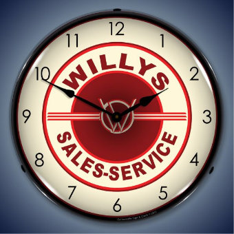 WILLYS SALES AND SERVICE  BACKLIT LIGHTED CLOCK