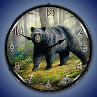 WOODLAND MORNING BEAR  BACKLIT LIGHTED CLOCK