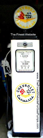 CHEVROLET CORVETTE GAS PUMP - FULL SIZE REPRODUCTION OF OLD 1950s CLASSIC ANTIQUE COLLECTIBLE GAS STATION MEMORABILIA