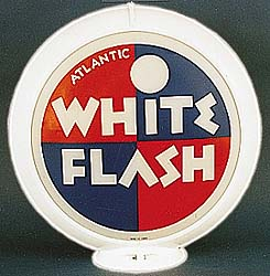 ATLANTIC WHITE FLASH GAS PUMP GLOBE - NEW FULL SIZE REPRODUCTION