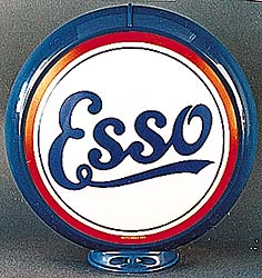 ESSO SCRIPT GAS PUMP GLOBE - NEW FULL SIZE REPRODUCTION