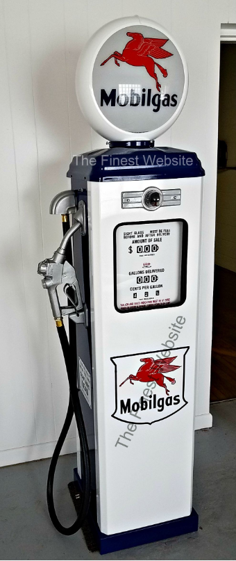 MOBILGAS  GAS PUMP - FULL SIZE REPRODUCTION OF OLD 1950s CLASSIC ANTIQUE COLLECTIBLE GAS STATION MEMORABILIA