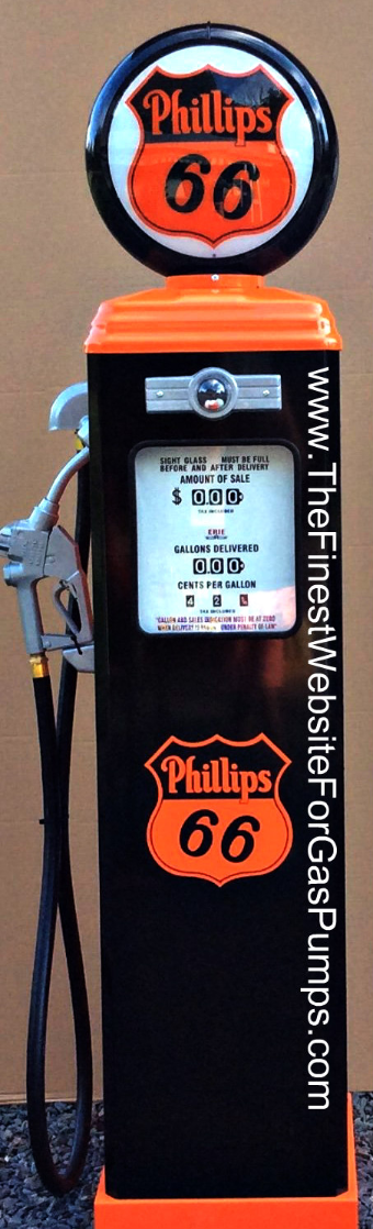 PHILLIPS 66  GAS PUMP - FULL SIZE REPRODUCTION OF OLD 1950s CLASSIC ANTIQUE COLLECTIBLE GAS STATION MEMORABILIA