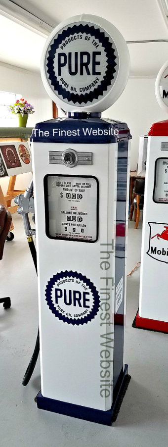 PURE GAS PUMP - FULL SIZE REPRODUCTION OF OLD 1950s CLASSIC ANTIQUE COLLECTIBLE GAS STATION MEMORABILIA
