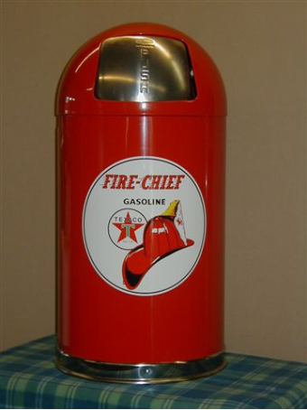 TEXACO FIRE CHIEF  DOME TRASH CAN -RED