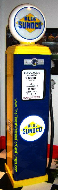 BLUE SUNOCO  GAS PUMP - FULL SIZE REPRODUCTION OF OLD 1950s CLASSIC ANTIQUE COLLECTIBLE GAS STATION MEMORABILIA
