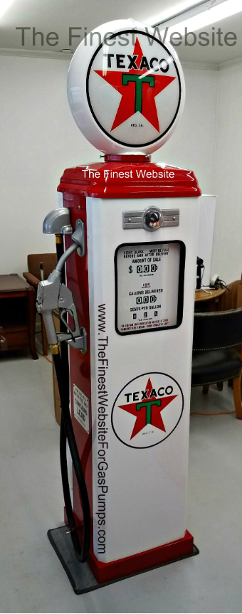 TEXACO STAR  GAS PUMP - FULL SIZE REPRODUCTION OF OLD 1950s CLASSIC ANTIQUE COLLECTIBLE GAS STATION MEMORABILIA