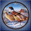 FROSTY MORNING RINGNECKS PHEASANTS  BACKLIT LIGHTED CLOCK