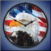 LET FREEDOM RING EAGLE  BACKLIT LIGHTED CLOCK