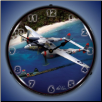 P-38 LIGHTING BATTLE AXE  BACKLIT LIGHTED CLOCK