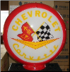 CHEVROLET CORVETTE (YELLOW  LETTERS) GAS PUMP GLOBE - NEW FULL SIZE REPRODUCTION