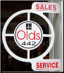 OLDS 442 SALES SERVICE ROUND FLANGE SIGN - WHITE