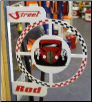 STREET ROD ROUND FLANGE SIGN - WHITE W/RED AND BLACK