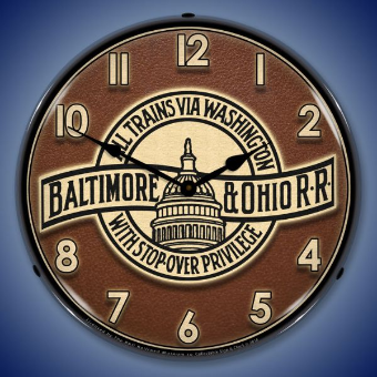 B  AND   O   RAILROAD  3  BACKLIT LIGHTED CLOCK